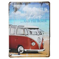 VW Camper T2 Vintage Style Iconic Metal Wall Plaque - Gift Pub Bar Club Man Cave