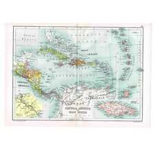 Antique Map 1910 - Central America, Cuba, Haiti, Puerto Rico by Bartholomew