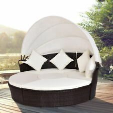 Outdoor Patio Canopy Cushioned Daybed Round Retractable Rattan Furniture Set