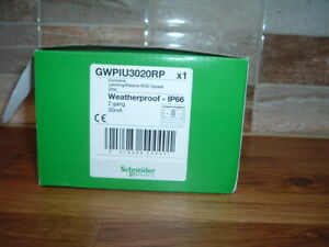 SCHNEIDER 2 GANG RCD 30mA     WEATHPROOF SOCKET  IP66 NEW.UK POST FREE
