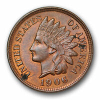 1906 Indian Head Cent Uncirculated Mint State Red Brown Original US Coin #5403