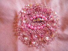 Handmade Antique Vintage Beadwork Sequin Pink Round Applique Piece - 1920's ?