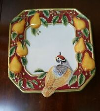 """Fitz and Floyd Partridge Square Plate Retired 8"""""""