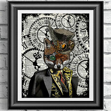Steampunk Fox art print on original book page Dandy red fox Vintage dictionary