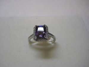 Ring with 6.45ctw Amethyst & White Cubic Zircon Design 18k White Gold Plated