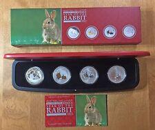 2011 $1 AUSTRALIA LUNAR SERIES II Year Of The Rabbit ~ 4-Coin Silver Set