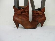 Steve Madden Jess II Brown Leather Ankle High Heel Boots Size 7.5 M