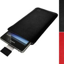 Nero Custodia Case Cover Pouch Pelle per Sony Xperia Z1 C6903 & Z2 D6502 D6503