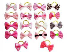 20Pcs Pink Pet Dog Cats Hair Bows Rubber Bands Head Accessory Headdress Grooming