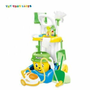 MY LITTLE CLEANER Kids Cleaning Trolley Set 12pc Children Broom Mop Brush Blue