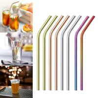 10 Pieces Stainless Steel Metal Color Drinking Straw Reusable - Curved