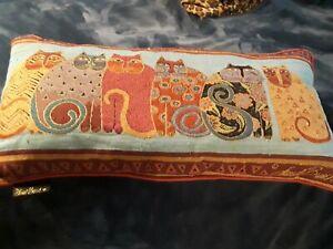 Laurel Burch Long Rectangular 6 Cat Throw Accent Pillow Multicolored velet back