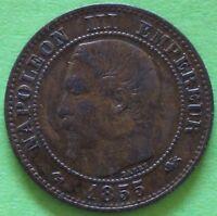 FRANCE 2 CENTIMES NAPOLEON III 1855 D PETIT D ANCRE LION  F.107