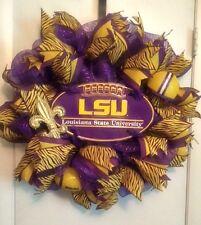 LSU Purple & Gold Deco Mesh Wreath - Handmade