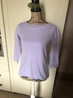 JOULES Harbour Ladies Blue Pink Stripe Cotton Jersey 3/4 Sleeve Top Size 8