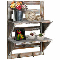 Rustic Wood Wall Mounted Organizer Shelves w/ 2 Hooks, 2-Tier Storage Rack,Brown