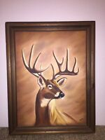 Deer Buck oil painting with Wood Frame