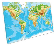WORLD MAP ATLAS CANVAS WALL ART PICTURE LARGE 75 X 50 CM