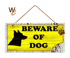 Beware of Dog Sign, Dog Bite Sign, Yellow Distressed 5x10 Rustic Wood Dog Sign
