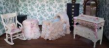 Dollhouse Miniature Artisan Penney Bolton Baby Furniture Crib Chair Table 1:12