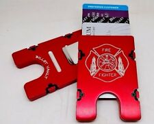 FIRE FIGHTER, Billet Aluminum Wallet/Credit Card Holder, RFID Protection, red