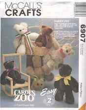 "6907 UNCUT McCalls Pattern 16"" Bear Rabbit Lamb Sheep Bunny Carols Zoo SEWING"