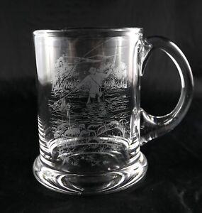John Jenkins Fine Quality Czech Crystal Glass Beer Lager Tankard Fishing Scene