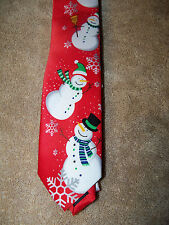 Red Snowman Christmas Holiday Snow Festive Neck Tie Necktie Boys Size NWT