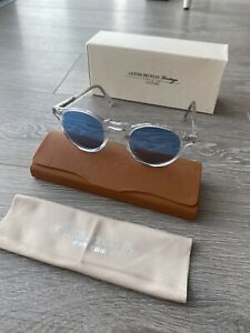 Oliver Peoples Gregory Peck Clear Transparent Round Blue Lens Sunglasses BNIB