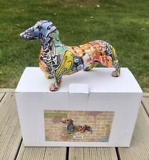 Graffiti Art DACHSHUND Dog Resin Figurine Ornament Decor 28cm Sausage Dog Puppy