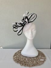 Ladies White & Black Sinamay Feather Headband Fascinator Wedding Races