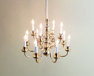 Dollhouse Miniature Hanging Chandelier Large 12 Arm Candle 12v 1:12 or 1:6 GOLD