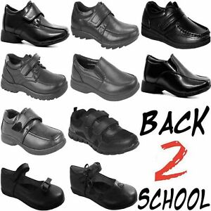 Kids School Shoes Boys Girls Smart Dress Formal Children Easy On Black Boots New