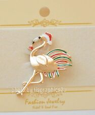 Holiday Flamingo Pin / Brooch / w Santa Hat ~  Red & Green Feathers / Gold-tone