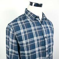 Vince Mens Large Casual Button Down Shirt Blue Gray Plaid 100% Cotton