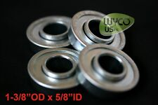 "FOUR (QTY.4) FLANGED BEARINGS 1-3/8"" OD x 5/8"" ID, FOR GO-KARTS, DOLLIES & MORE"