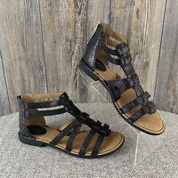 "BOC~""Scotti"" Black Lizard Print~Gladiator Sandals~Women's Size 11~Faux Leather"