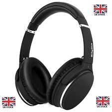 Noise Cancelling Headphones Bluetooth Wireless Lightweight Leather Over-Ear Mic