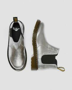Dr. Martens 2976 Silver Crinkle Metallic Chelsea Boots Toddler - Adult Size