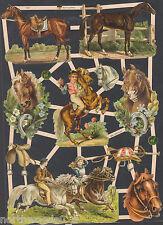 Horses Equestrian Jockey Show Ride Race Collage Animal Paper Scrap Ef German