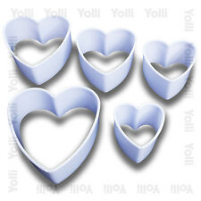 5 Heart Shaped Cookie / Fondant Cutter Set biscuit decorating baking home decor