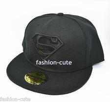 New Black Classic Adjustable Snapback Superman flat baseball Hat cap Bill Unisex