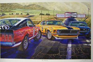 FORD MUSTANG BOSS 302 ART 1969 1970 USAC TRACK CARS SMOKEY YUNICK MICHAEL IRVINE