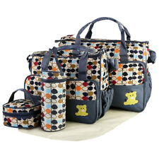 Infant Baby Nappy Changing Bag Set 5pcs Cute Travel Diaper Bags Bottle Holder Grey