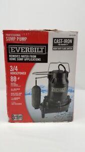 Everbilt HDS75 Professional Sump Pump 3/4 HP Cast Iron, Float Switch