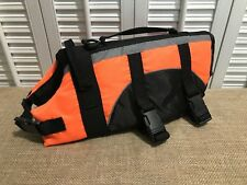 Dog Swimming Life Vest Preserver Safety Orange W Reflective Gray Strip Sz Small