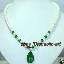 cadeau d'anniversaire ! Mode,la perle & vert jade, pendentif ,collier, 45cm