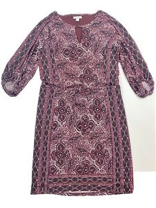 "Cato Dress Size Small S Burgundy And Black Paisley Pattern Lined Stretchy 38"" L"