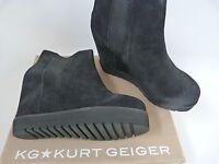 KURT GEIGER KG £160 BLACK SUEDE CONCEALED WEDGE HEEL BOOTS.. UK 7   EU 40