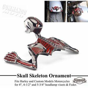"""Custom Skull Skeleton Ornament For Harley Bobber Chopper - 4"""" Headlight & Fender"""